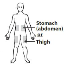 Stomach (abdomen) or Thigh